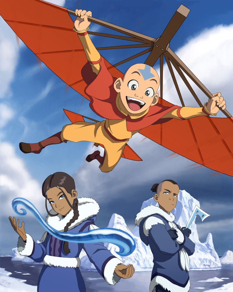 Aang flying, katar on the left and sokka on the right